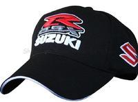 Free shipping 2014 New  suzuki embroidery black F1 racing car motorcycle 100% cotton baseball sports hat cap