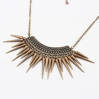 free shipping Europe & America Popular & Exaggerated Rivets Tassel Necklace Chain Free Shipping (Bronze) N242