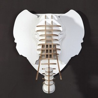 DHL Free Shipping! Wooden garden style elephant head Wall Mount,White