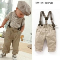 Free Shipping!hot sell baby clothes sets cool boy 2 pcs suit (t-shirt+overalls) summer infant garment kids Children's clothesA8.