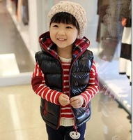 child autumn and winter cotton vest thickening cotton-padded glossy with a hood child vest waistcoat child vest
