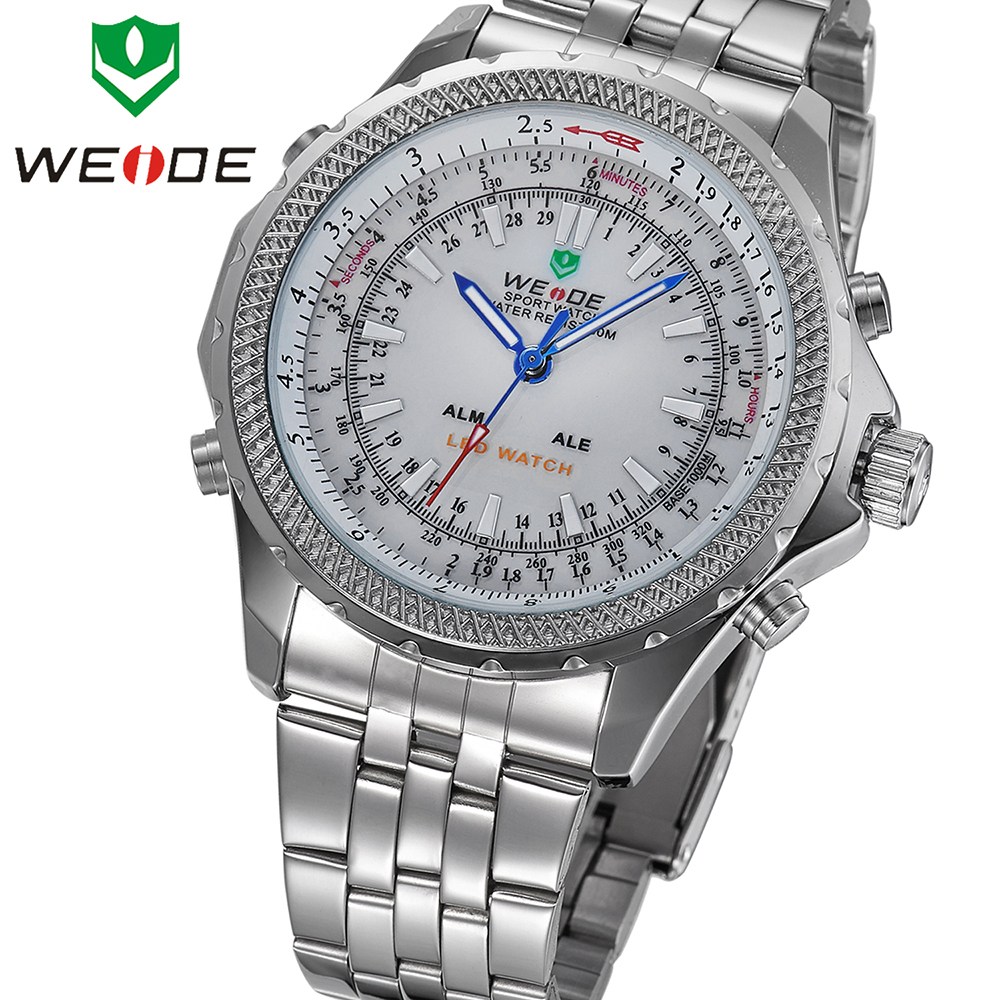 WEIDE Dual analog digital military watch LED Big display digital diving stainless steel band popular fashion leisure men watch(China (Mainland))