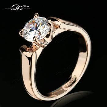 Classic Elegant Cubic Zirconia Engagement Ring Золото Plated Crystal Модный Свадьба ...