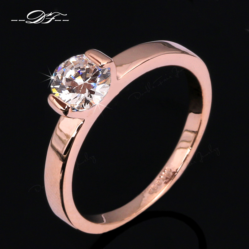 Hot Sale Simple Elegant Design CZ Diamond Wedding Ring Wholesale 18K Gold Pla