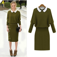 2014 new Women's autumn and winter  turn-down collar   Knitwear slim sweater dress for lady--WS-27