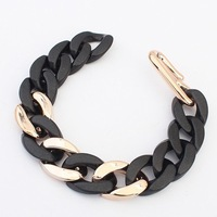 2014 New Fashion Jewel Hot Sale Unisex Women Men Black Thick Chain Charm Bracelet Wholesale Free shipping#101554