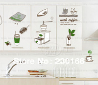 Hot Sale Coffee Time Creative Wall Stickers for Kitchen Vinyl Wall Decal Art DIY Home Decor Stickers Removable 50x70cm E2013052