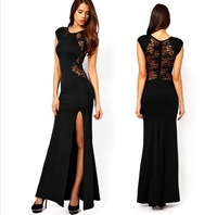 Sexy Women's Fashion Lace & Knitting Patchwork Back Waist Hollow Out Solid Black Slim Side Slit Open Long Maxi Dress  0668