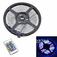 Waterproof 14.05W 600lm 300-SMD 3528 LED RGB Light Strip w/ 24-Key Remote Controller - (5M / 12V)