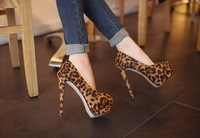 Free shipping 2013 new style super high heels lady's fashion sexy Leopard platform shoes party pumps#Z0110