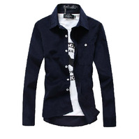 2013 new mens slim fit long sleeve shirt men's fashion causal thick shirt men Courdoroy camisas 12 colors M~XXXL