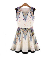 flower printed sleeveless dress women European women fashion 2013 boutique dress