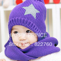 New Korean children stylish hat & scarf, baby cotton  knitting wool caps,boy and girl five star beanie