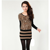 Medium style o-neck leopard pattern batwing Mohair woolly Pullover Knitwear slim sweater dress for lady