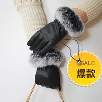 Thermal winter fashion sheepskin genuine leather thick PU gloves big rabbit fur women's cold