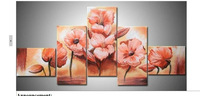 hand painted modern Wall home decor Canvas oil painting 2013 new Modern Flower Landscape oil paintings 5pcs a49