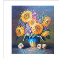 hand painted modern Wall home decor Canvas oil painting 2013 new Modern Beautiful Sunflower Flower oil paintings 1pcs a461