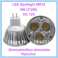 10X Promotion MR16 3*2W 6W Dimmable/Non-Dimmable LED Lamp Light Bulb Downlight Spotlight High Power DC 12V Warm/Cool White