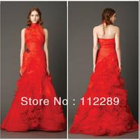 New Arrival Halter Design Open Back Mermaid Red Bridal Wedding Dress HZ3652