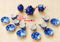 1/12 Scale  Dinnerware Coffee Tea Cup  Lot of 15 Blue Plum  Dollhouse Miniature Furniture