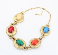 Mix Orders Over 10$ Free Shipping! Fashion multi-colored round gem necklace cxt96894