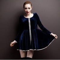 Free Shipping S to 4XL Korean Style plus size long sleeve dress binding zip gold velvet dress