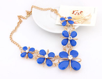 Fashion luxury fashion metal of the bright crystal gem drop elegant short design collar necklace
