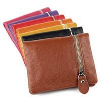vintage lovers wallet genuine leather purse women multi card holder cowhide Retro men clutch zipper pocketbook European Style