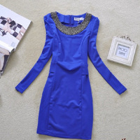 Fashion normic 2014 OL outfit handmade beaded candy color slim puff sleeve slim waist one-piece dress winter dress women