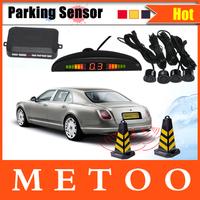 Car LED Parking Reverse Backup Radar System with Backlight LED Display+4 Sensors 7 Colors Shell+Free Shipping