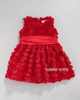 Wholesale child girl's rose one-piece dress Bowknot kids princess dress