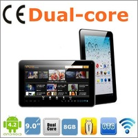 9 inch A5 Dual Core A5 HDMI Bluetooth 1.2GHZ 8GB 512MB wifi 3000mAH Android 4.2 800*480 5-point touch capacitive screen cheap pc