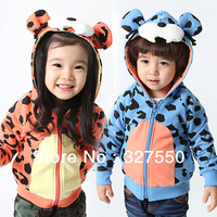 Wholesale New Baby Autumn&Winter Clothing 2 Color boys and girls children's Outerwear kids tiger dot hooded jacket (BGW-295)