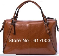 2013 new women's genuine leather tote bag, retro handbag, ladies' messenger bag, free shipping wholesale price