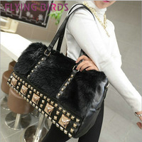 FLYING BIRDS! FREE SHIPPING 2014 Retro messenger bag Black rivets shoulder bag plush handbag diagonal package LS1167