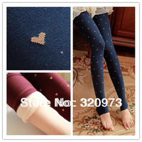 2013 new arrival Korea style elastic print thick winter cotton women jacquard hearts leggings free shipping