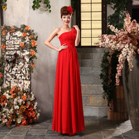 2014 new fashion Bride one shoulder design long evening dress oblique long formal dresses