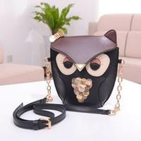 New Women's Splicing Color Shoulder Cross Body Bag Owl Pattern Holder Cover School Tote Small Bag Handbag black + brown 17782