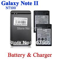 2 x 3500mAh Battery + Wall Charger for Samsung Galaxy Note II 2 N7100 N7102 n7105 Batterie Bateria Batterij Accumulator cargador