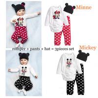 New 2015 Baby Wear Conjuntos Clothing Bodysuits Cartoon Vestidos Baby Rompers + Pants + Hat Baby Clothing Sets Jumpsuit