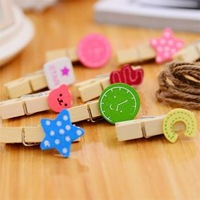 3686 Min order $10 (mix order) free shipping cute little clip decorative wooden clip photo wall art deco clip with hemp12pcs/lot