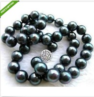 classic natural 9-10mm south sea black pearl necklace 18''