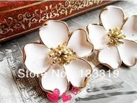 Vintage Drip Jasmine Flower Stud Earrings White Flower Earrings Wholesale South exquisite cape jasmine flower Earrings