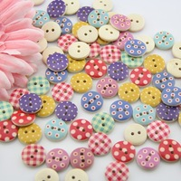 scrapbooking Bulk 100pcs DIY wooden mixed round shape buttons for craft mixed accessories products