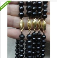 "wholesale 5pcs Akoya AAA+ 8-9 mm black pearl necklace 18""14k"