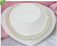 classic natural 8-9mm south sea white pearl necklace 36''14K white gold