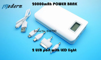 Free shipping 20000mAh 2USB port with LED light  External Power Bank Battery Charger For iPhone SAMSUNG mobile phone