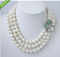 HUGE12-11MM SOUTH SEA WHITE PEARL NECKLACE 17-19''inch