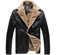 Free shipping new men's winter coat fashion fur collar leather jacket