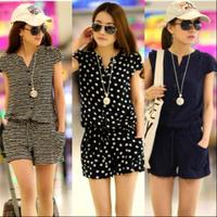 Plus size bodysuit jumpsuit women's summer chiffon jumpsuit shorts clohing set stripes dots candy overalls for women dress